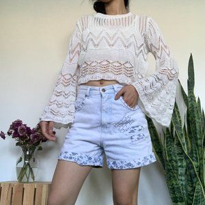 Off White Crotchet Crop Top